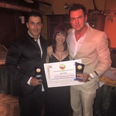 Matt Fiddes Cynthia Rothrock and Silvio Simac martial arts Hall of Fame