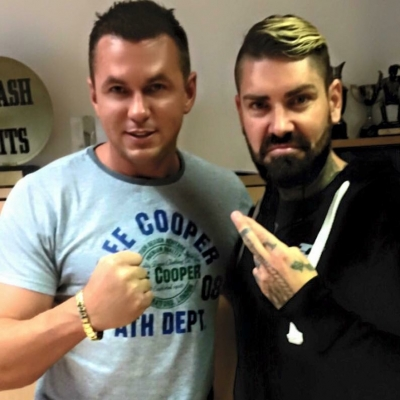 Matt Fiddes in London with Boyzones Shane Lynch