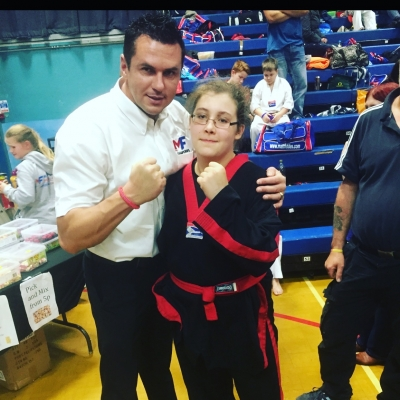 Matt Fiddes with Blind Student