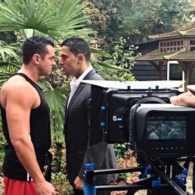Matt Fiddes with Silvio Simac on set of Fighting Talk the movie